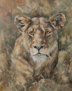 Acrylic Painting of a Lioness